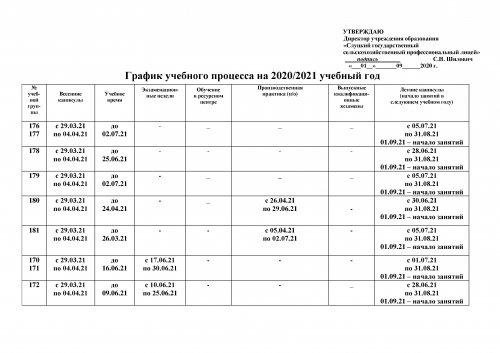 График учебного процесса на 2020-2021 уч. год